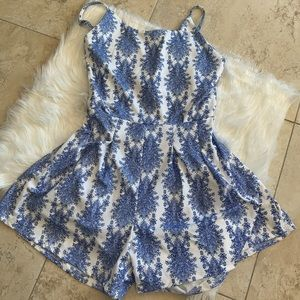 Adorable blue and white romper